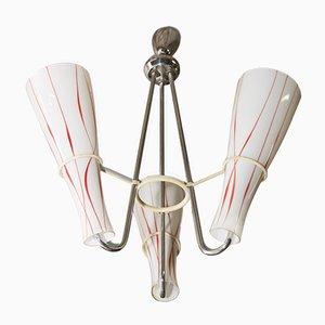 Lámpara de araña Mid-Century de vidrio opalino, años 60