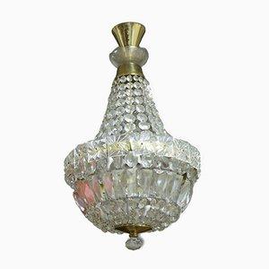 Lámpara de araña checa Mid-Century de cristal, años 60