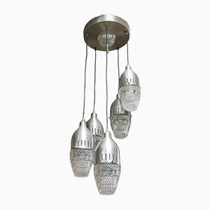 Lámpara de araña en cascada italiana vintage, años 70