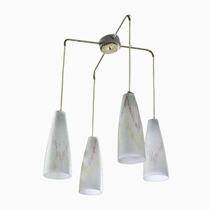 Vintage Chandelier with 4 Opaline Glass Lampshades, 1960s