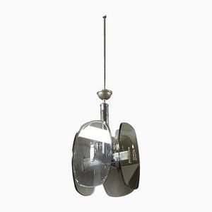 Lámpara colgante italiana de cristal ahumado, años 60