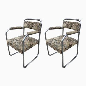 Vintage Tubular Steel Armchairs, 1930s, Set of 2