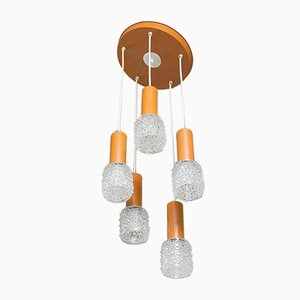 Vintage Chandelier with 5 Glass Lampshades