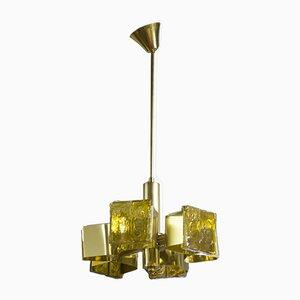 Lámpara de araña Ice Block Mid-Century de JT Kalmar, años 60