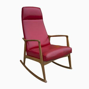 Rocking Chair Mid-Century en Bois Courbé