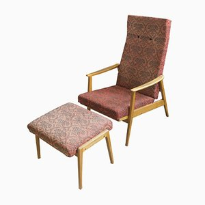Adjustable Armchair and Stool Set from TON, 1960s