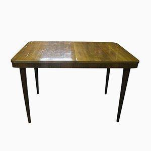 Mesa de comedor extensible de chapa de nogal, años 60