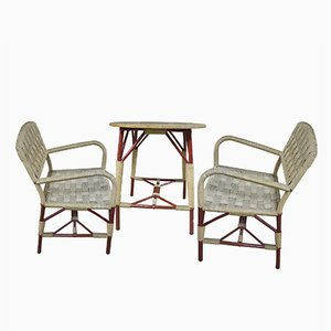 Wicker Art Deco Table & 2 Chairs Set, 1930s