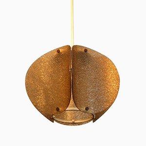 Lámpara de araña Mid-Century de vidrio texturizado, años 60