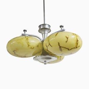 Lámpara de araña Art Déco con tres brazos, años 30