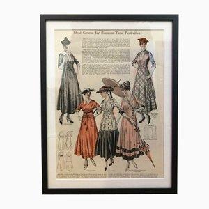 Antique Framed Fashion Magazine Poster, 1910s