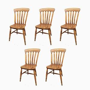Antique Windsor Kitchen Chairs, Set of 5