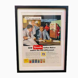 Vintage Vendo Coffee Machines Advertisement Poster, 1950s