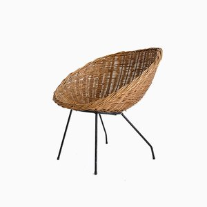 Sessel aus Korbgeflecht, 1960er
