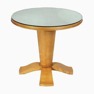 Table d'Appoint Style Art Déco en Bouleau & Verre Miroité, 1940s