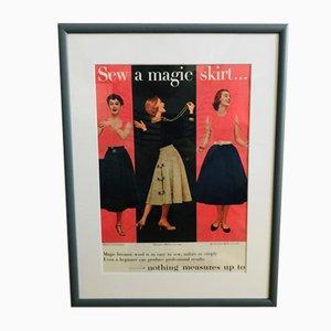 Vintage Framed Fashion Poster, 1950s