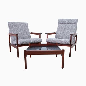 Mid-Century Coffee Table & 2 Kyoto Armchairs Set by Guy Rogers, 1960s