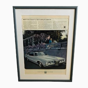 Mid-Century Poster für Pontiac Grand Prix, 1969