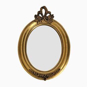 Specchio piccolo in legno dorato, anni '50