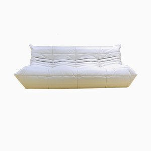 Mid-Century White Leather Togo Sofa by Michel Ducaroy for Ligne Roset, 1970s