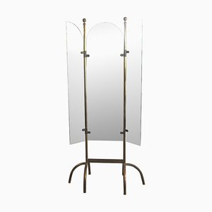 Italian Brass Mirror with Three Doors, 1940s