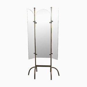 Italienischer Spiegel mit Gestell aus Messing & 3 Flügeln, 1940er