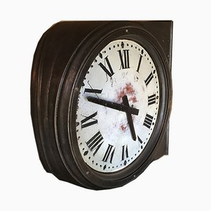 Vintage Industrial French Cast Iron Clock by Paul Garnier