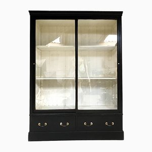 Antique Victorian Glass and Pine Display Cabinet