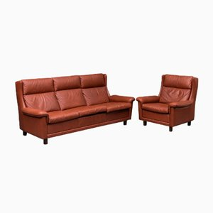 Vintage Danish Leather Sofa and Chair Set, 1970s