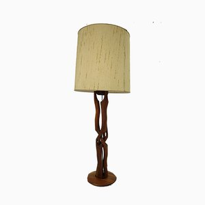 Danish Modern Fabric & Teak Table Lamp, 1960s