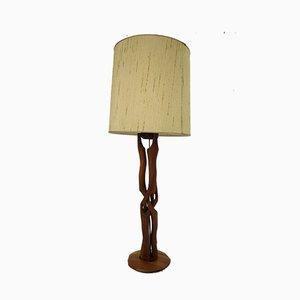 Lámpara de mesa danesa moderna de tela y teca, años 60