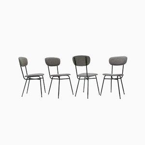 Italienische Esszimmerstühle aus Stoff & Metall, 1950er, 4er Set