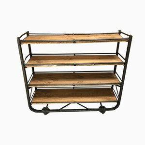 Vintage Industrial French Steel and Fir Wall Unit, 1920s