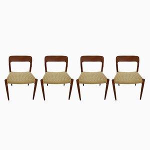 Dänische Modell 75 Esszimmerstühle aus Teak & Papierkordel von Niels Otto Møller für JL Møllers, 1970er, 4er Set