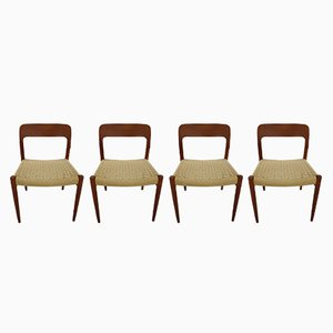 Danish Teak & Paper Cord Model 75 Dining Chairs by Niels Otto Møller for J.L. Møllers, 1970s, Set of 4