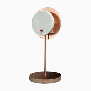 Lampe de Bureau Soleil en Onyx et Pierre Sculptée Main par Skeld
