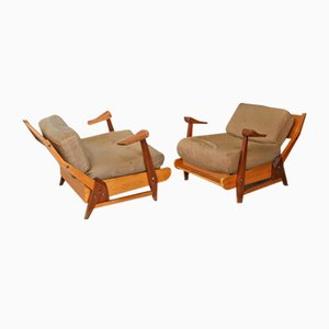 Italian Teak and Textile Lounge Chairs by Guillerme et Chambron, 1950s, Set of 2