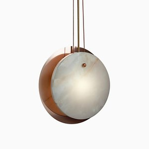Hand-Sculpted Onyx Stoned Sun Pendant Lamp by Skeld