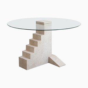 French Limestone Round Staircase Table by Rooms