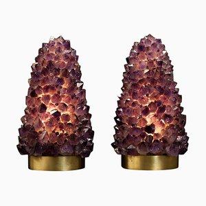 Natürliche Tischlampen aus Amethyst von Demian Quincke, 2er Set