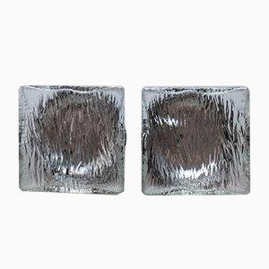 Apliques franceses de vidrio estructurado de Mapelec, años 70. Juego de 2