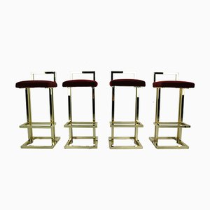 French Brass & Fabric Bar Stools from Maison Jansen, 1970s, Set of 4