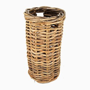 Large Rattan Linen Basket with Handles, 1940s