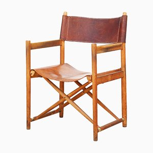 Beech & Leather Director's Folding Chair, 1950s