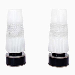 Lámparas de mesa de metal y cristal tallado, años 30. Juego de 2