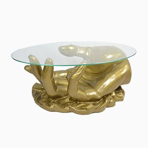 Hollywood Regency Style French Hand Shaped Coffee Table, 1970s