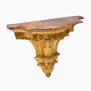 Antique French Wood & Marble Console Tables, Set of 2