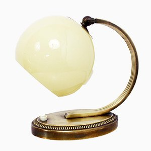 Art Deco Brass & Opaline Glass Table Lamp, 1930s