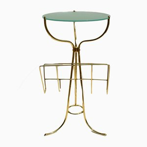 Italian Brass & Frosted Glass Console Table by Cesare Lacca for Fontana Arte, 1950s