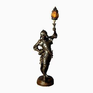 Antike Stehlampe mit Krieger-Figur aus Zinklegierung